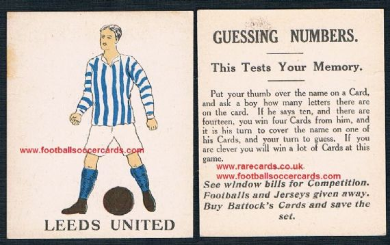 1923 Battocks Leeds United HEAVY LETTERING Guessing Numbers type back x.rare redemption card